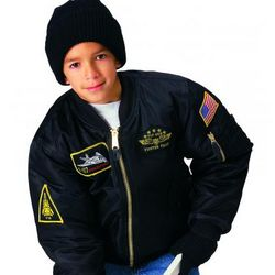 Children's Black Top Gun MA-1 Flight Jacket with Patches