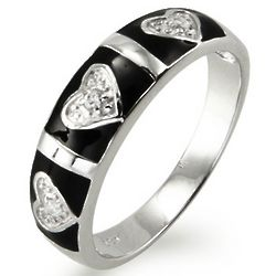 Sterling Silver Cubic Zirconia Heart and Bar Black Enamel Ring