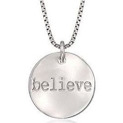 Sterling Silver Believe Message Necklace