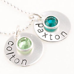Mother's Birthstone Personalized Hand Stamped Necklace