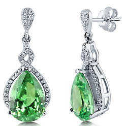 Pear Cut Peridot Cubic Zirconia Halo Dangle Earrings