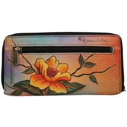 Hand Painted Leather Zip Around Clutch Wallet