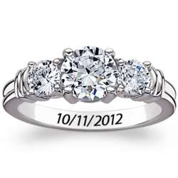 Sterling Silver Cubic Zirconia Trio Engraved Promise Ring