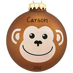 Personalized Monkey Face Glass Ball Christmas Ornament