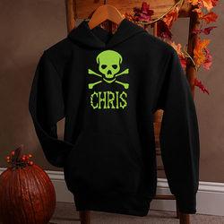 Personalized Glow in the Dark Skull Halloween Hooded Sweatshirt