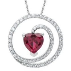 Circle of Love Heart-Shaped Lab-Created Ruby and Sapphire Pendant