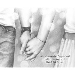 Hand in Hand Forever Black and White Art Print
