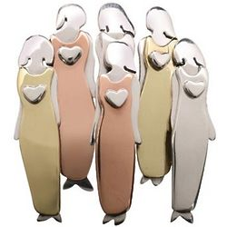 Six Women Silver Pin