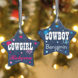 Cowgirl or Cowboy Up Personalized Star Ornament