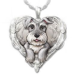 Schnauzers Are Angels Heart-Shaped Pendant