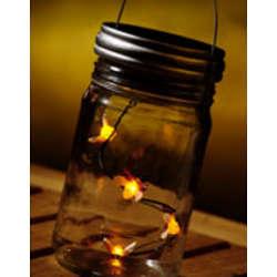 Lighted Fireflies in a Jar