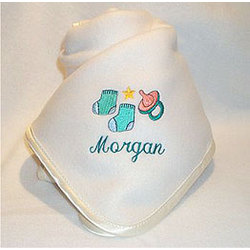 Personalized Pacifier & Booties Baby Blanket