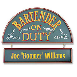 Personalized Bartender on Duty Bar Sign