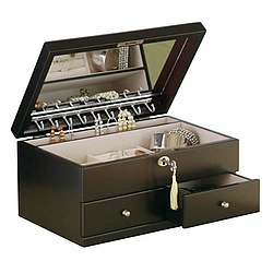 Darcy Contemporary Java Finish Locking Jewely Box