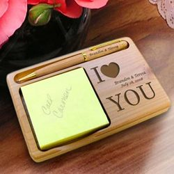 Personalized I Love You Wooden Notepad & Pen Holder