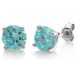 Sterling Silver Round Blue Topaz CZ Solitaire Earrings