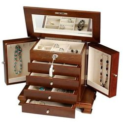 Locking Walnut Wooden Jewelry Box with Tassel Key