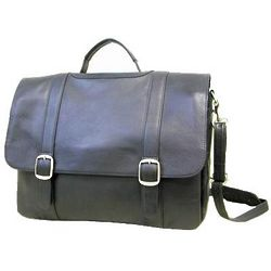 Leather Mid Flap Laptop Briefcase
