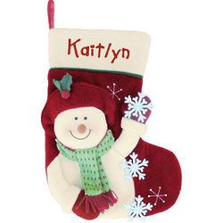 Snowman with Snowflakes Stocking