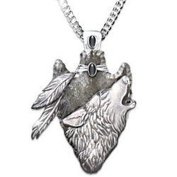 Sacred Courage Wolf Arrowhead Pendant