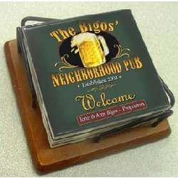 Personalized Ceramic Bar Coasters with Holder