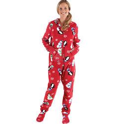 Women's Hoodie-Footie Winter Whimsy Snuggle Fleece Pajama
