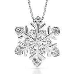 Sterling Silver and Diamond Snowflake Pendant