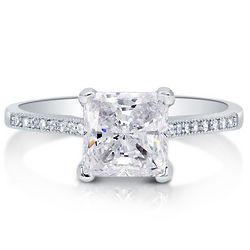 Princess Cut Cubic Zirconia Sterling Silver Solitaire Ring