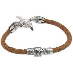 Men's Sterling Silver and Leather Feather Bracelet