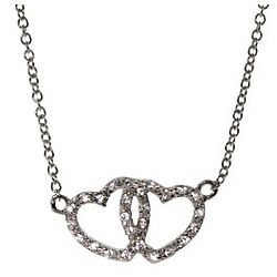 Tiffany Inspired Cubic Zirconia Joined Hearts Necklace