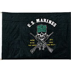 USMC Mess With The Best Skull Flag