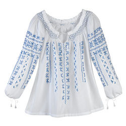 Aztec Blue Peasant Top