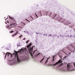 Luxe Lilac Baby Blanket with Matching Booties