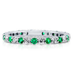 Emerald Green CZ Sterling Silver Eternity Ring