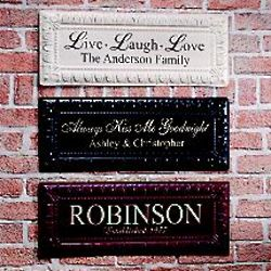 Personalized Pressed Tin Name and Year Wall Decor