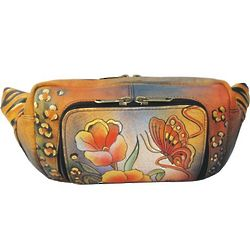 Hand Painted Leather Belt Bag Fanny Pack