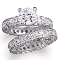 Platinum Plated Cubic Zirconia Heirloom Bridal Ring Set