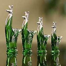Emerald Llama Blown Glass and Silver Leaf Figurines