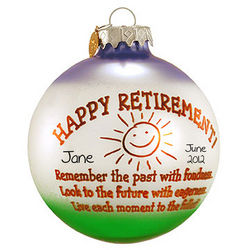 Happy Retirement Glass Ball Personalized Ornament