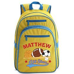 Personalized Yellow All-Star Large Backpack