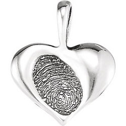 Sterling Silver Small Heartprint Pendant