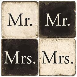 Mr and Mrs Wedding Beverage Coasters