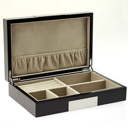 Lacquered Wood Jewelry Box with Stainless Steel Accents