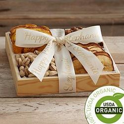 Organic Dried Fruit and Nut Tray with Personalized Ribbon