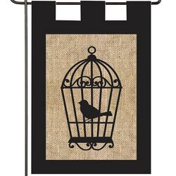 Bird Cage Burlap Garden Flag