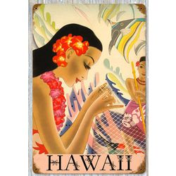 Hawaii Fishnet Vintage Metal Sign