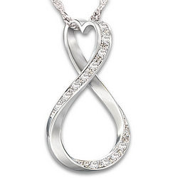 Forever My Granddaughter Diamond Sterling Silver Infinity Pendant