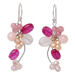 Radiant Bouquet Pearl and Rose Quartz Cluster Earrings