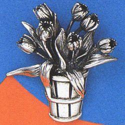 Tulip Basket Sterling Silver Brooch