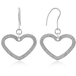 Brushed Stainless Steel Heart Earrings